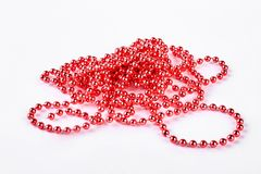 Free Red Beads Garland On White Background. Royalty Free Stock Photography - 107262857