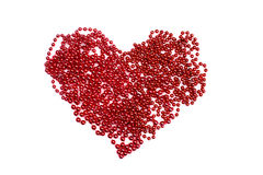Red beads heart shaped isolated on white Royalty Free Stock Image