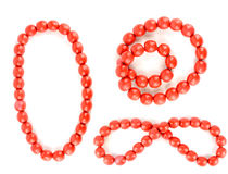 Red beads isolated with clipping paths Royalty Free Stock Photography