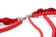 Red beads isolated on white background Royalty Free Stock Images
