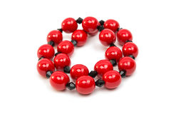 Red beads isolated Stock Image