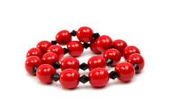Red beads isolated Stock Photos