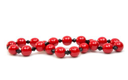 Red beads isolated Stock Photo