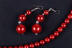 Red beads and necklaces Stock Photo