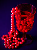 Red beads in red glass Stock Photos