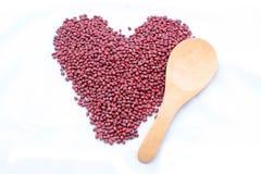 Red Bean Adzuki. With wood spoon Royalty Free Stock Photos