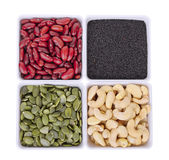 Red bean,black sesame,Pumpkin seeds,Cashew nuts in white square Stock Images