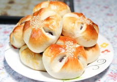 Red bean bread buns in the dish Royalty Free Stock Photo