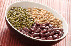 Red bean, green bean, and soy bean in bowl Royalty Free Stock Photos