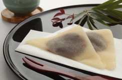 Red Bean Paste Wrapped in Cinnamon-flavored Dough Yatsuhashi, Japanese food. Type of sweet made with bean paste local delicacy in Kyoto; cinnamon-seasoned Stock Photography