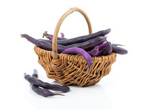 Red bean pods in wicker basket Royalty Free Stock Images