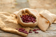 Red bean in sack Stock Photography