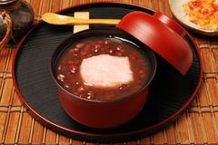 Red bean sweet soup with mochi. Royalty Free Stock Photo