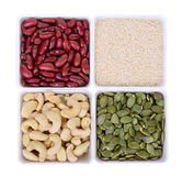Red bean,white sesame,Pumpkin seeds,Cashew nuts in white square Royalty Free Stock Photography