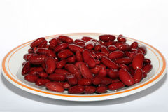 Red beans. From can at plate Royalty Free Stock Photography