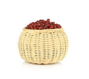 Red beans in basket isolated on white background.  Stock Photo