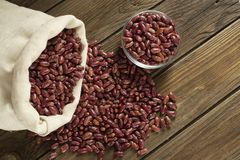 Red beans in a burlap bag royalty free stock images