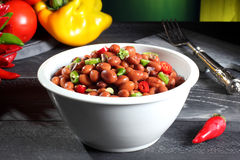 Red beans with chili pepper Stock Image