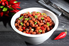 Red beans with chili pepper Royalty Free Stock Image