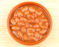 Red Beans. Close-up of cooked frijoles beans stew in a clay plate. On a wooden table Royalty Free Stock Photo