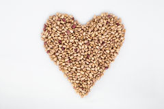 Red beans heart. Red beans texture with heart stock image