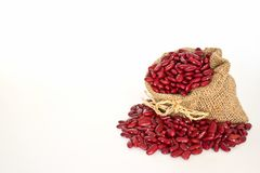 Red Beans In Canvas Sack Royalty Free Stock Images