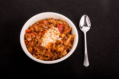 Red Beans and Rice on Black Background Royalty Free Stock Photos