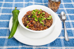 Red Beans and Rice with Poblano Chili. A bowl of red beans and rice with green poblano chili pepper royalty free stock images