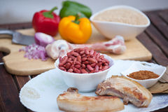 Red Beans and Rice with Pork Chops Stock Images