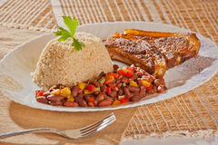 Red Beans and Rice with Pork Chops Royalty Free Stock Image