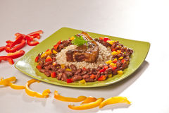 Red Beans and Rice with Pork Chops Stock Photography