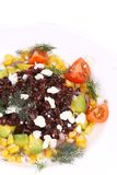 Red beans salad with feta cheese. Royalty Free Stock Photography