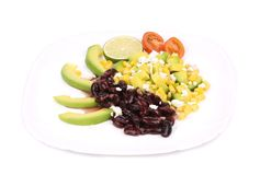 Red beans salad with feta cheese. Royalty Free Stock Image