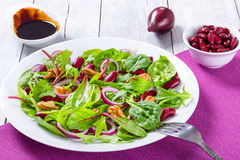 Red beans salad with mix of lettuce leaves and walnuts Stock Image