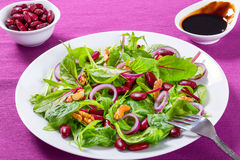 Red beans salad with mix of lettuce leaves and walnuts Stock Photography