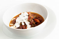 Red beans stew with sour cream Royalty Free Stock Image