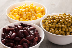 Red beans, sweet corn and green peas Royalty Free Stock Photos