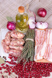 Red beans, thyme, sausages and bacon; Stock Photography