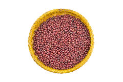 Red beans in tray on white background. Red beans in bamboo tray on white background Royalty Free Stock Images