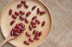 Red beans in the wood spoon Royalty Free Stock Photos