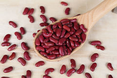Red beans in a wooden spoon Royalty Free Stock Photography
