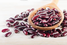 Red beans in  a wooden spoon. Stock Image