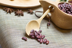 Red beans. In a wooden spoon, and some spices Royalty Free Stock Photo