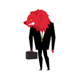 Red Bear Businessman. Player on the stock exchange with bears he. Ad. Wicked Wild animal with briefcase and tie. Beast in business suit. Metaphor Trader in Stock Images
