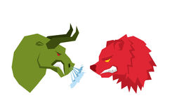 Red Bear and green bull. Traders on stock exchange symbols. Confrontation Businessmen. Allegory illustration for business infograp Stock Photo