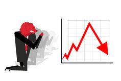 Red Bear prays for fall in rate of exchange. Red down arrow. Wor Royalty Free Stock Image