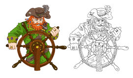 Red beard captain with wheel  Stock Images