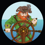 Red beard captain with wheel on sea background Royalty Free Stock Photos