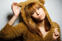 Red-bearded winter sweater woman Royalty Free Stock Image