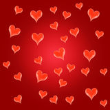 Red, beautiful background with hearts Royalty Free Stock Image